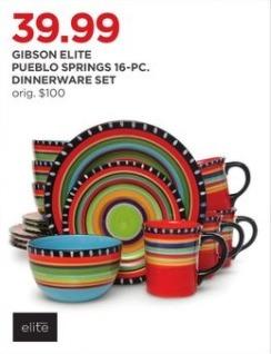 JCPenney Black Friday: Gibson Elite Pueblo Springs 16-pc. Dinnerware Set for $39.99