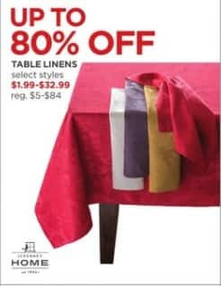 JCPenney Black Friday: Table Linens - Select Styles - Up to 80% Off