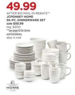 JCPenney Black Friday: JCPenney Home 56-pc. Dinnerware Set for $49.99 after $10.00 rebate
