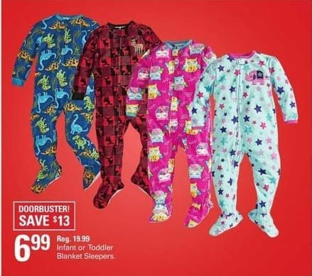 Shopko Black Friday: Infant or Toddler Blanket Sleepers for $6.99