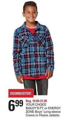 Shopko Black Friday: BAILEY'S PT. or ENERGY ZONE Boys' Long-sleeve Crews or Fleece Jackets for $6.99