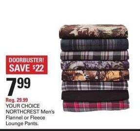 Shopko Black Friday: NORTHCREST Men's Flannel or Fleece Lounge Pants for $7.99