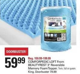 "Shopko Black Friday: COMFORPEDIC LOFT From BEAUTYREST 3"" Reversible Memory Foam Topper - King for $79.99"