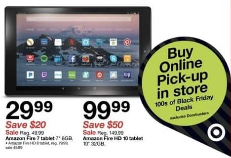 Target Black Friday 32gb Amazon Fire Hd 10 Tablet For 99