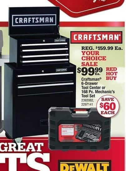 Ace Hardware Black Friday: Craftsman 6-Drawer Tool Center for $99.99