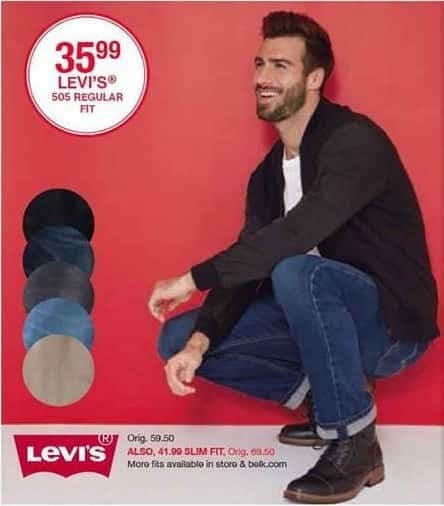 Belk Black Friday: Levi's 505 Regular Fit Jeans for Him for $35.99