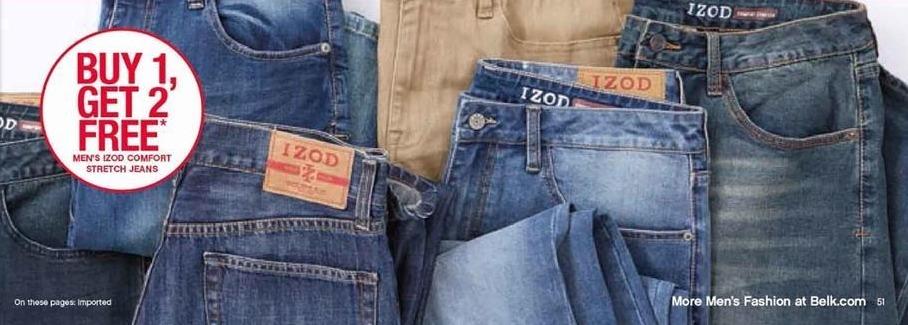 Belk Black Friday: Izod Comfort Stretch Jeans for Men - B1G2 Free