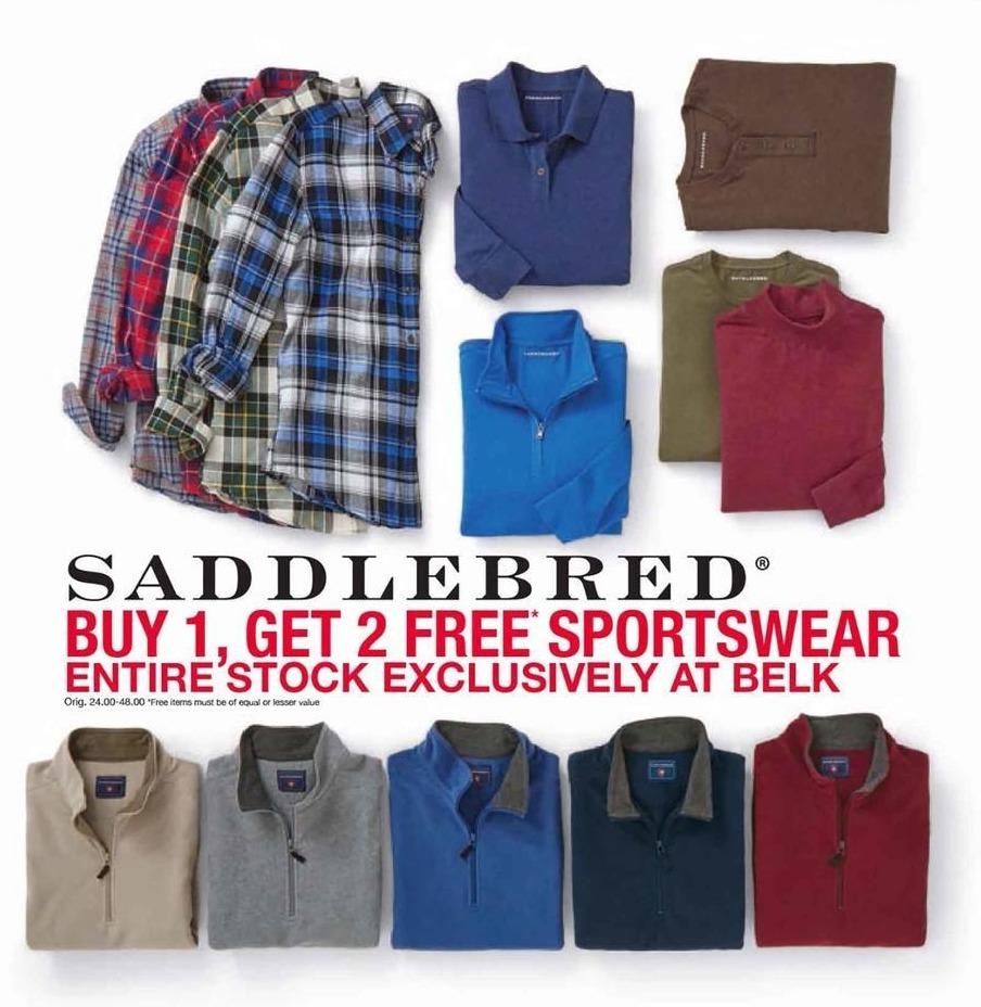 Belk Black Friday: Entire Stock of Saddlebred Sportswear for Men - B1G2 Free