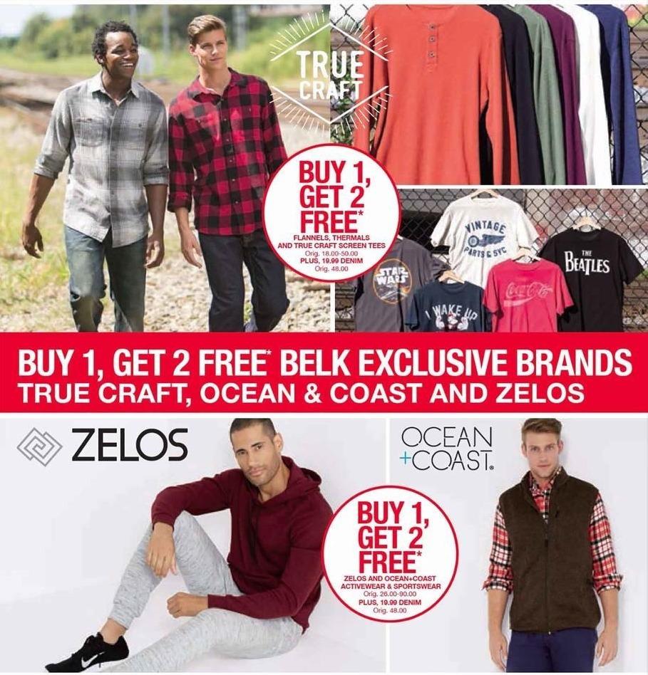 Belk Black Friday: Zelos, True Craft, and Ocean & Coast Tees, Flannels, Thermals, Activewear & Sportswear for Men - B1G2 Free