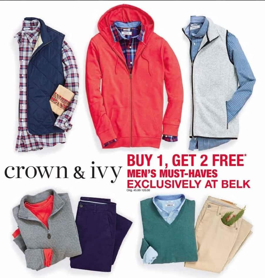 Belk Black Friday: Crown & Ivy Pants, Shirts, Outerwear & More for Men - B1G2 Free