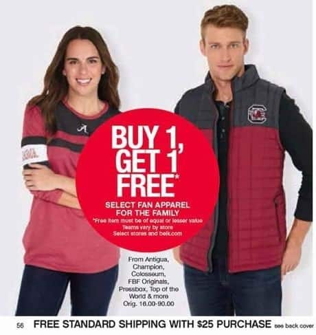 Belk Black Friday: Antigua, Champion, Colosseum, FBF Originals & More Select Fan Apparel for the Family - B1G1 Free