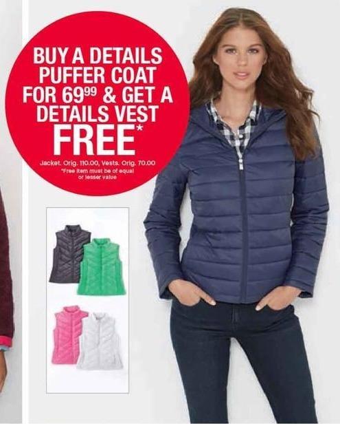 Belk Black Friday: Details Puffer Coat + Free Details Vest for Women for $69.99