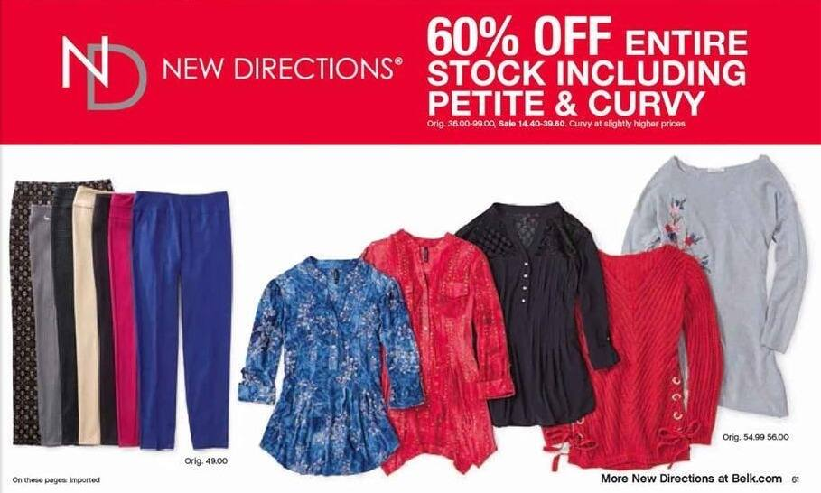 Belk Black Friday: Entire Stock of New Directions for Her Including Petite & Curvy - 60% Off