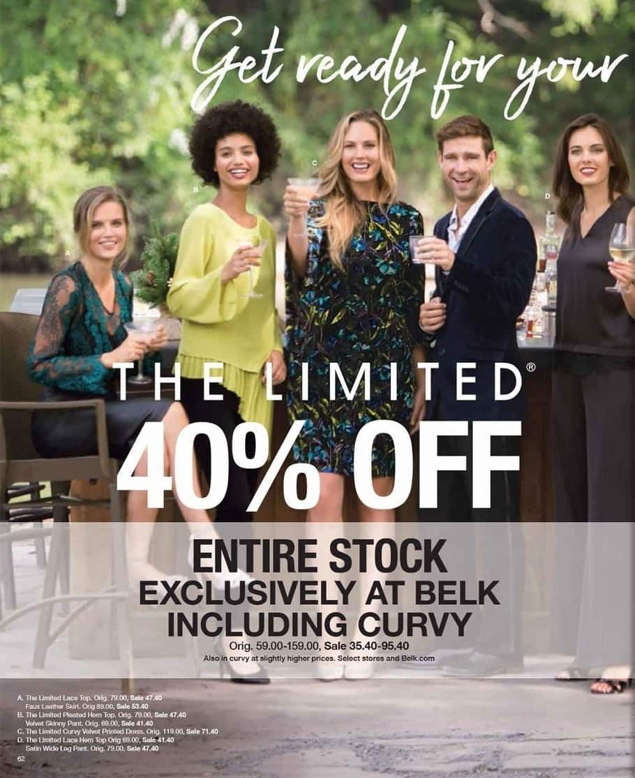 Belk Black Friday: Entire Stock of The Limited for Men & Women - 40% Off