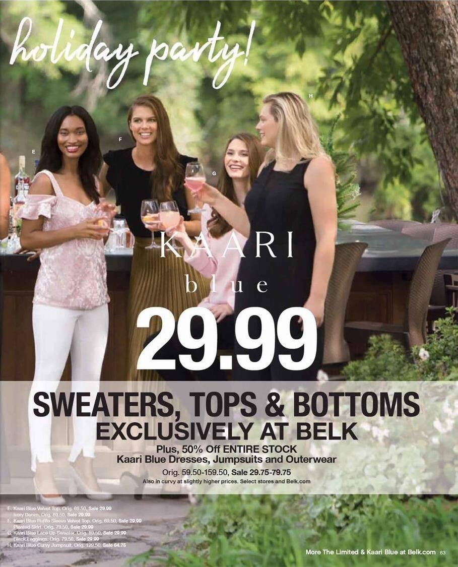Belk Black Friday: Kaari Blue Sweaters, Tops & Bottoms for Her for $29.99