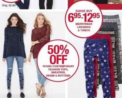 Belk Black Friday: Young Contemporary Fashion Tops, Sweaters, Denim & Bottoms for Her - 50% Off