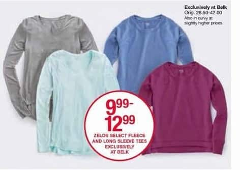 Belk Black Friday: Select Zelos Fleece & Long Sleeve Tees for Her for $9.99 - $12.99