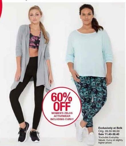 Belk Black Friday: Zelos Activewear Including Curvy for $11.40 - $38.40