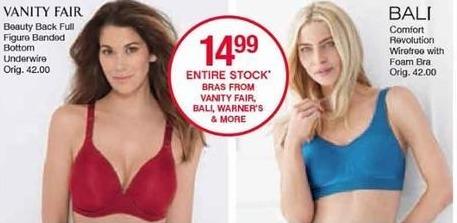 Belk Black Friday: Entire Stock of Bras from Vanity Fair, Bali, Warner's & More for $14.99