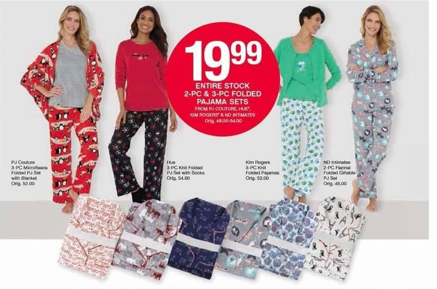 Belk Black Friday: Entire Stock of PJ Couture, Hue, Kim Rogers & ND Intimates 2-pc & 3-pc Folded Pajama Sets for $19.99