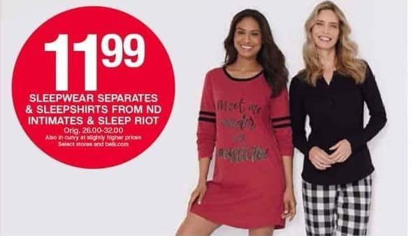 Belk Black Friday: Sleepwear Separates & Sleepshirts from ND Intimates & Sleep Riot for $11.99