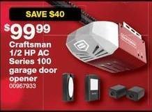 Sears Black Friday: Craftsman 1/2 HP AC Series 100 Garage Door Opener for $99.99