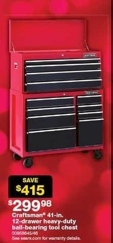 Sears Black Friday: Craftsman 41-in 12 Drawer Heavy Duty Ball Bearing Tool Chest for $299.98