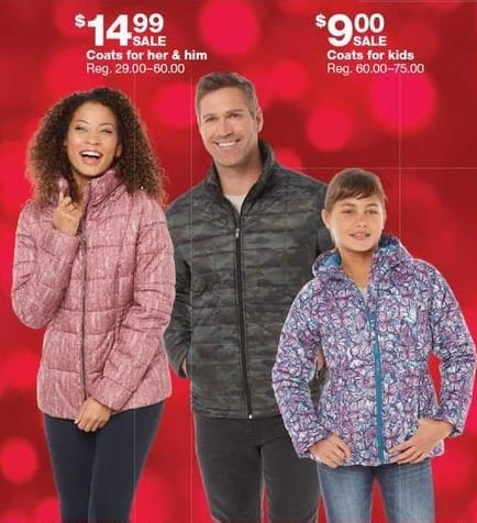 Sears Black Friday: Coats for Him & Her for $14.99