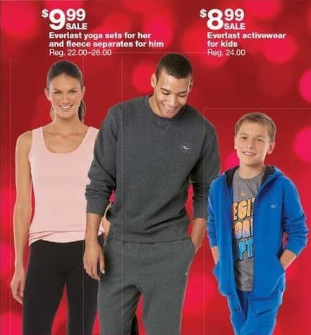 b8e567400f1f3 Sears Black Friday  Everlast Yoga Sets For Her   Fleece Sets For Him for   9.99