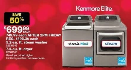 Sears Black Friday: Kenmore Elite 5.2-cu. ft. Steam Washer for $699.99
