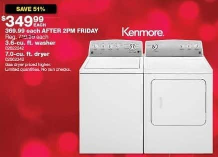 Sears Black Friday: Kenmore 7.0-cu ft Dryer for $349.99
