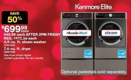 Sears Black Friday: Kenmore Elite 4.5-cu. ft. Steam Washer for $699.99