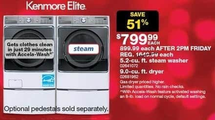 Sears Black Friday: Kenmore Elite 5.2-cu. ft. Steam Washer for $799.99