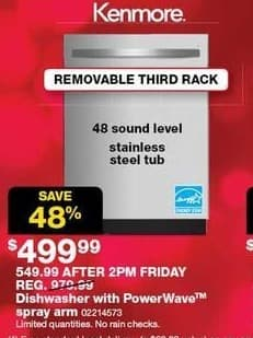 Sears Black Friday: Kenmore Dishwasher w/ PowerWave Spray Arm for $499.99