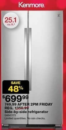 Sears Black Friday: Kenmore 25.1-cu. ft. Side-By-Side Refrigerator for $699.99