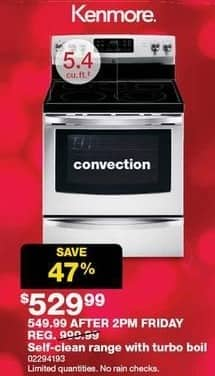 Sears Black Friday: Kenmore 5.4-cu. ft. Self-Clean Convection Range w/ Turbo Broil for $529.99