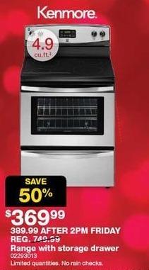 Sears Black Friday: Kenmore 4.9-cu. ft. Range w/ Storage Drawer for $369.99