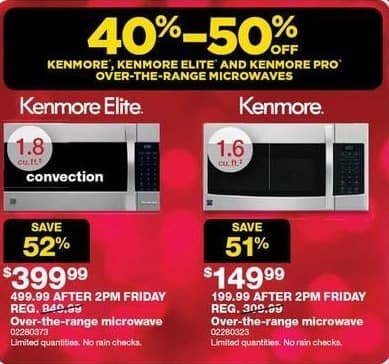Sears Black Friday: Kenmore Elite 1.8-cu. ft. Over-The-Range Microwave for $399.99
