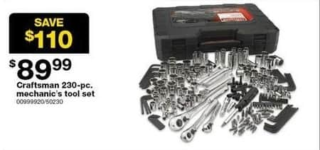 Sears Black Friday: Craftsman 230-pc. Mechanics Tool Set for $89.99