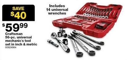 Sears Black Friday: Craftsman 56-piece Universal Mechanics Tool Set for $59.99