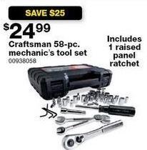 Sears Black Friday: Craftsman 58-pc. Mechanic's Tool Set for $24.99