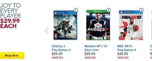 Best Buy Black Friday: Destiny 2, Madden NFL 18, NBA 2K18 & More PS4/Xbox One Games for $29.99