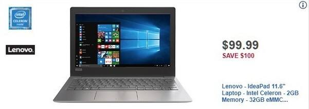 "Best Buy Black Friday: Lenovo IdeaPad 11.6"" Laptop 2GB Ram, 32GB eMMC Flash Memory, Win 10 for $99.99"
