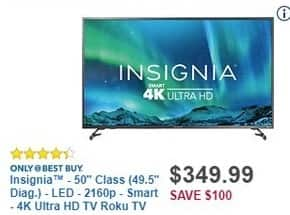 "Best Buy Black Friday: 50"" Insignia NS-50DR620NA18 2160p 4K Smart UHD TV for $349.99"