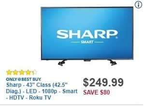 "Best Buy Black Friday: 43"" Sharp LC-43LB481U 1080p Smart Roku HDTV for $249.99"