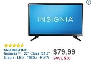 "Best Buy Black Friday: 22"" Insignia NS-22D420NA18 1080p LED HDTV for $79.99"