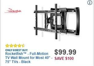 "Best Buy Black Friday: Rocketfish Full-Motion TV Wall Mount for Most 40"" - 75"" TVs for $99.99"