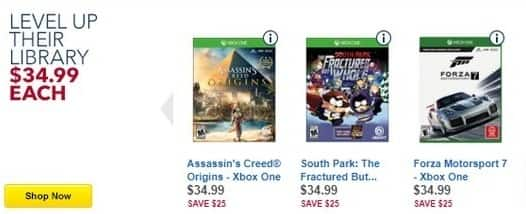 Best Buy Black Friday: Assassin's Creed Origins, South Park The Fractured But Whole, Forza Motorsport 7 & More Games for PS4/Xbox One for $34.99