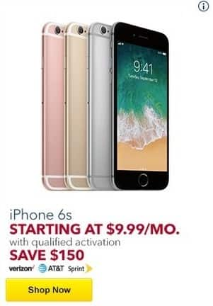 new arrival b149f b2355 Best Buy Black Friday: iPhone 6s w/ Qualified Activation - Save $150 ...