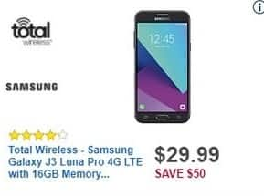 Best Buy Black Friday: Total Wireless Samsung Galaxy J3 Luna Pro 4G LTE with 16GB Memory Prepaid Cell Phone for $29.99